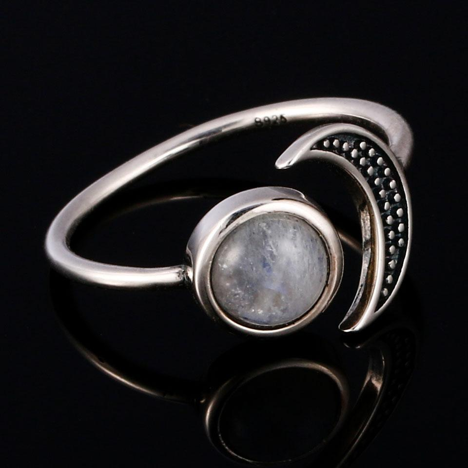 925 Sterling Silver Moonstone Moon Ring WickedAF