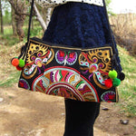 Embroidered Envelope Bag with Pompoms WickedAF