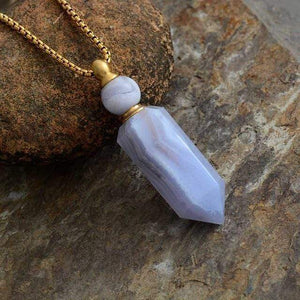 Natural Crystal Perfume Bottle Necklace WickedAF Agate Gold