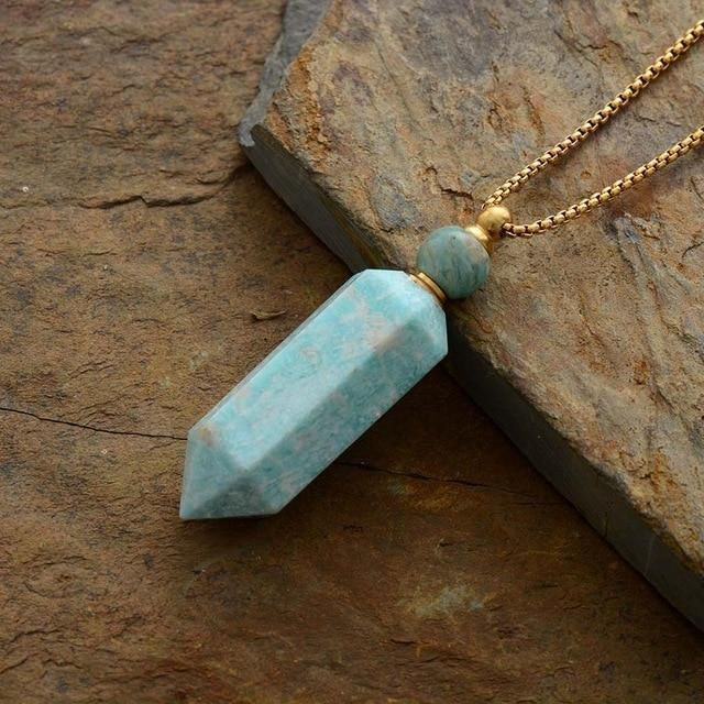 Natural Crystal Perfume Bottle Necklace WickedAF Amazonite