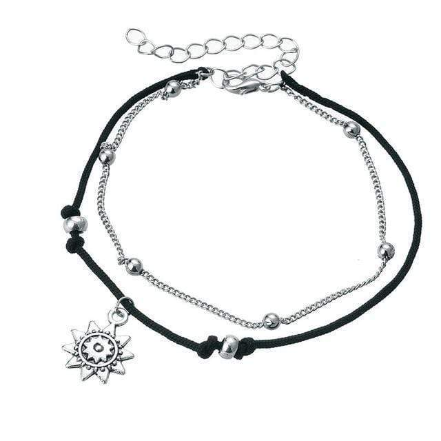 WickedAF anklet Silver Sun Double Anklet