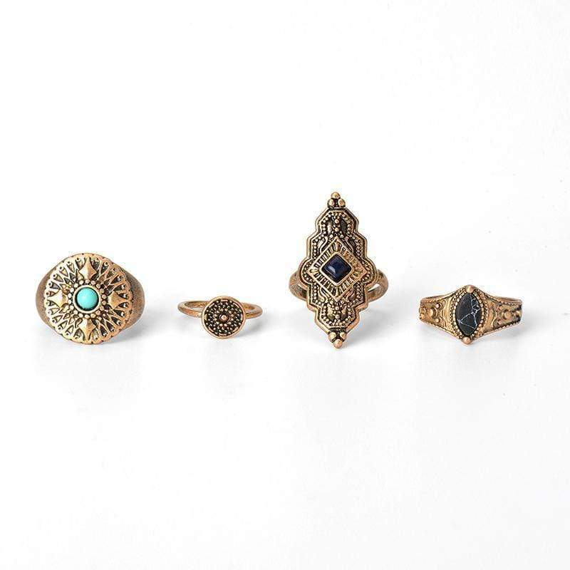 Gypsy Queen Ring Set WickedAF Antique Gold