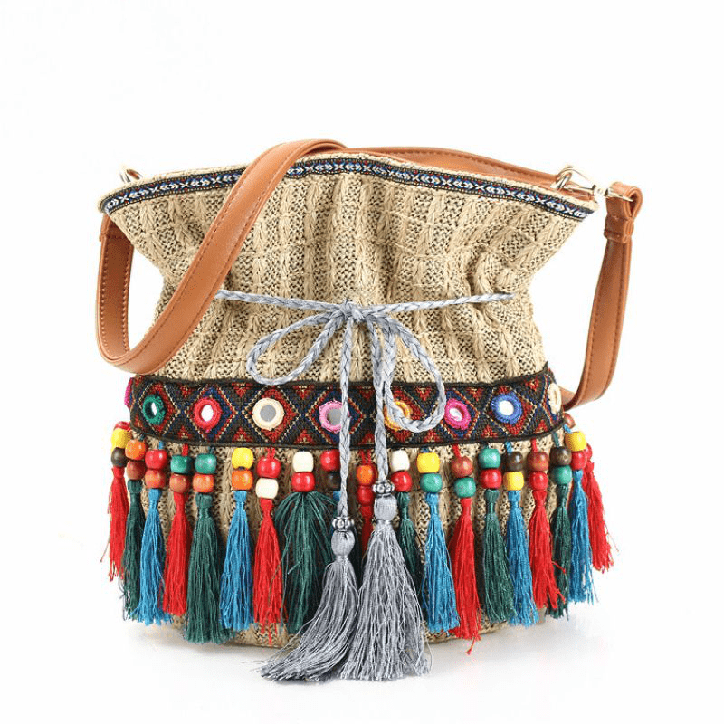Andalusia Tassel Straw Bucket Bag WickedAF APRICOT