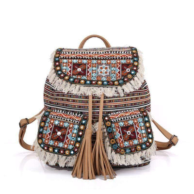 Aura Boho Striped Drawstring Backpack backpack WickedAF