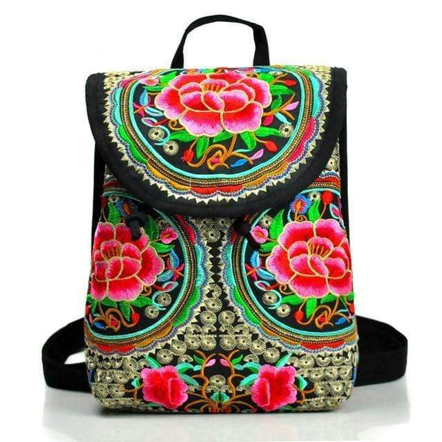 Eartha Embroidered Hippie Backpack backpack WickedAF Azalea Large