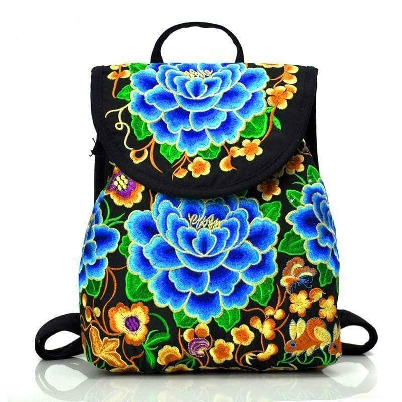 Eartha Embroidered Hippie Backpack backpack WickedAF Blue Large