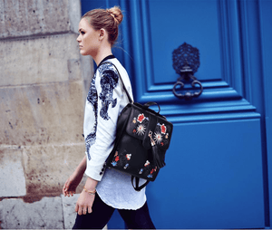 Divine Floral Embroidered Backpack Backpack WickedAF