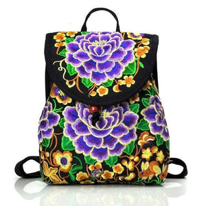 Eartha Embroidered Hippie Backpack backpack WickedAF Purple Large
