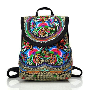 Eartha Embroidered Hippie Backpack backpack WickedAF Retro Large