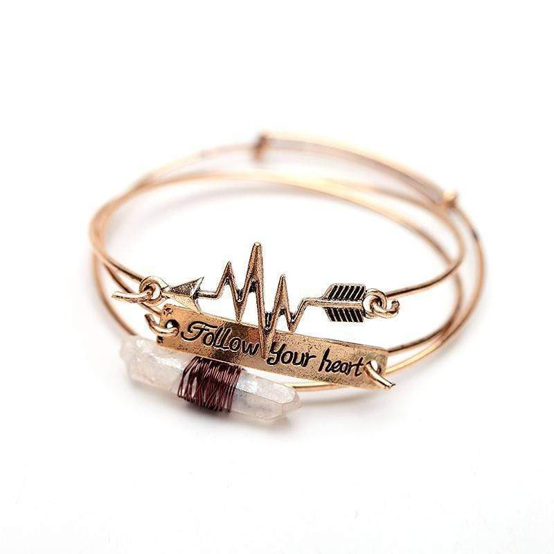 """Follow Your Heart"" Cuff Bangle bangle WickedAF Antique Gold"