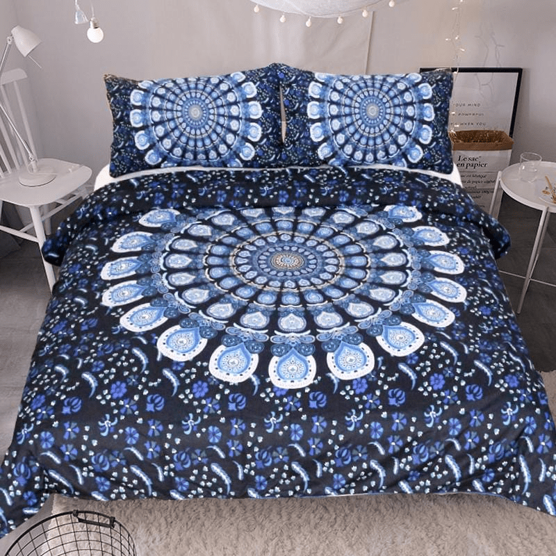 Blue Wildflower Bedding Set 3pcs bedding set WickedAF