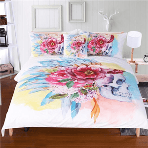 Flower Skull Bedding Set 4pcs bedding set WickedAF