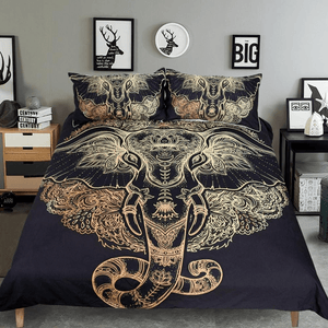 Golden Tribal Elephant Bedding Set 3pcs bedding set WickedAF