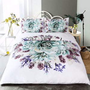 Green Succulents Bedding Set 3pcs bedding set WickedAF
