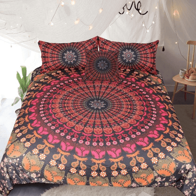 Red Peacock Feather Mandala Bedding Set 4pcs bedding set WickedAF
