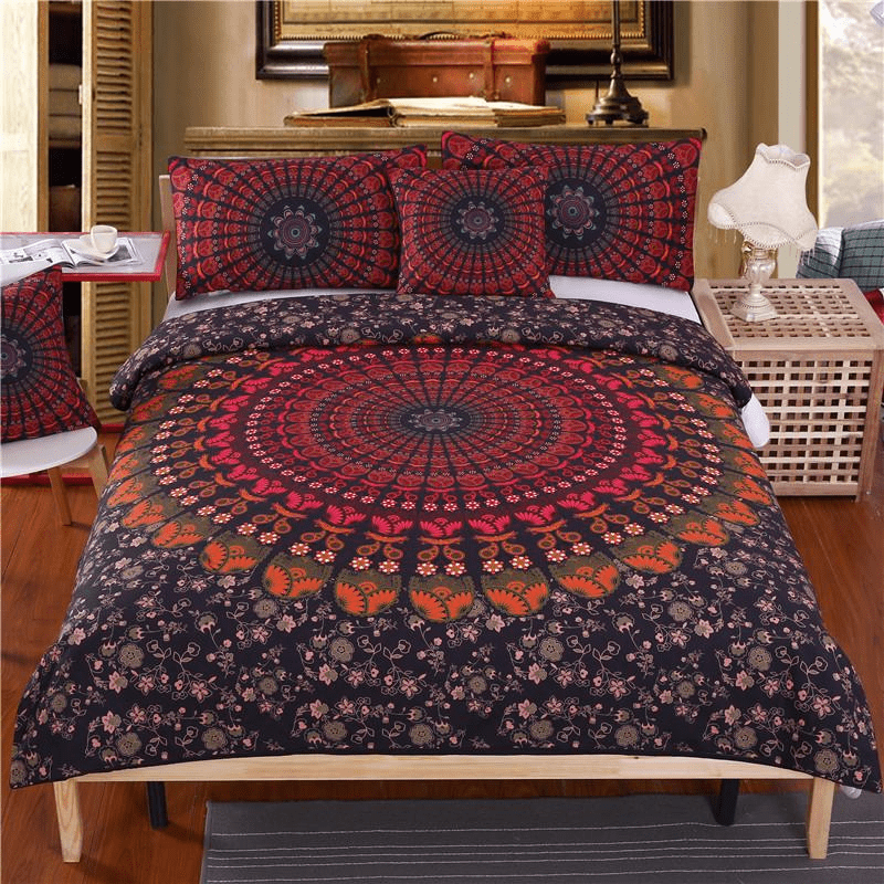 WickedAF bedding set Red Peacock Feather Mandala Bedding Set 4pcs