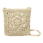 Mia Woven Crochet Cross Body Bag WickedAF Beige