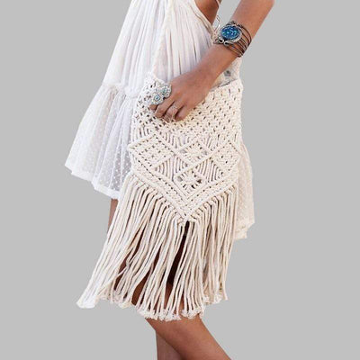 Boho Chic Crochet Bag with Tassels WickedAF