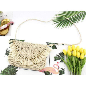 Delilah Frayed Edge Natural Straw Clutch Bag WickedAF Beige