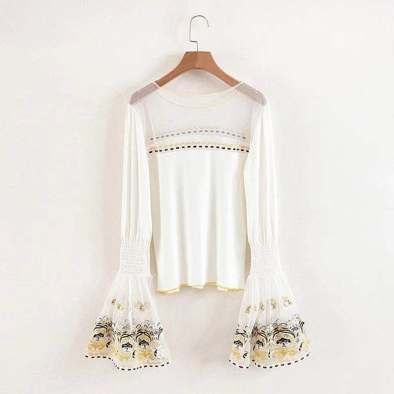 WickedAF Beige / S CELESTINE Embroidered Flare Sleeve Top
