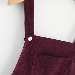 WickedAF Berry Cord Overall Dress