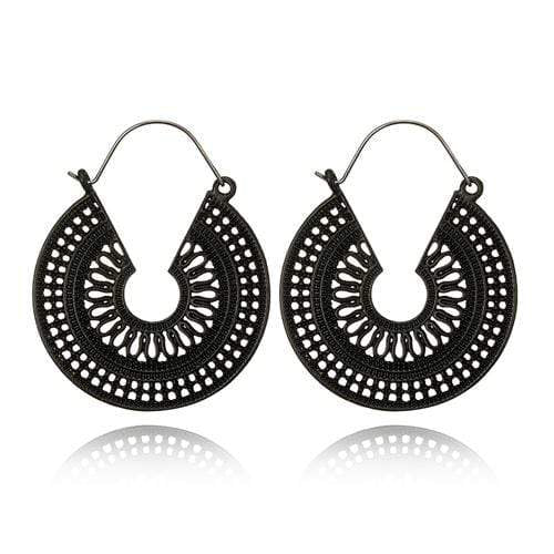 WickedAF black Hollow Flower Dangle Earrings