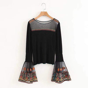 WickedAF Black / S CELESTINE Embroidered Flare Sleeve Top