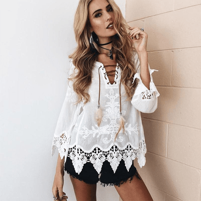 Hippie Crochet Lace Blouse blouse WickedAF