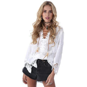 WickedAF blouse White / One Size Hippie Crochet Lace Blouse