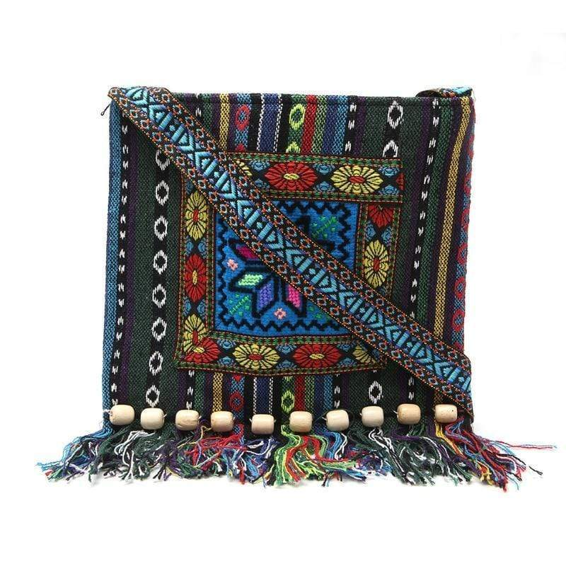 Ethnic Boho Tassel Embroidery Shoulder Bag WickedAF Blue