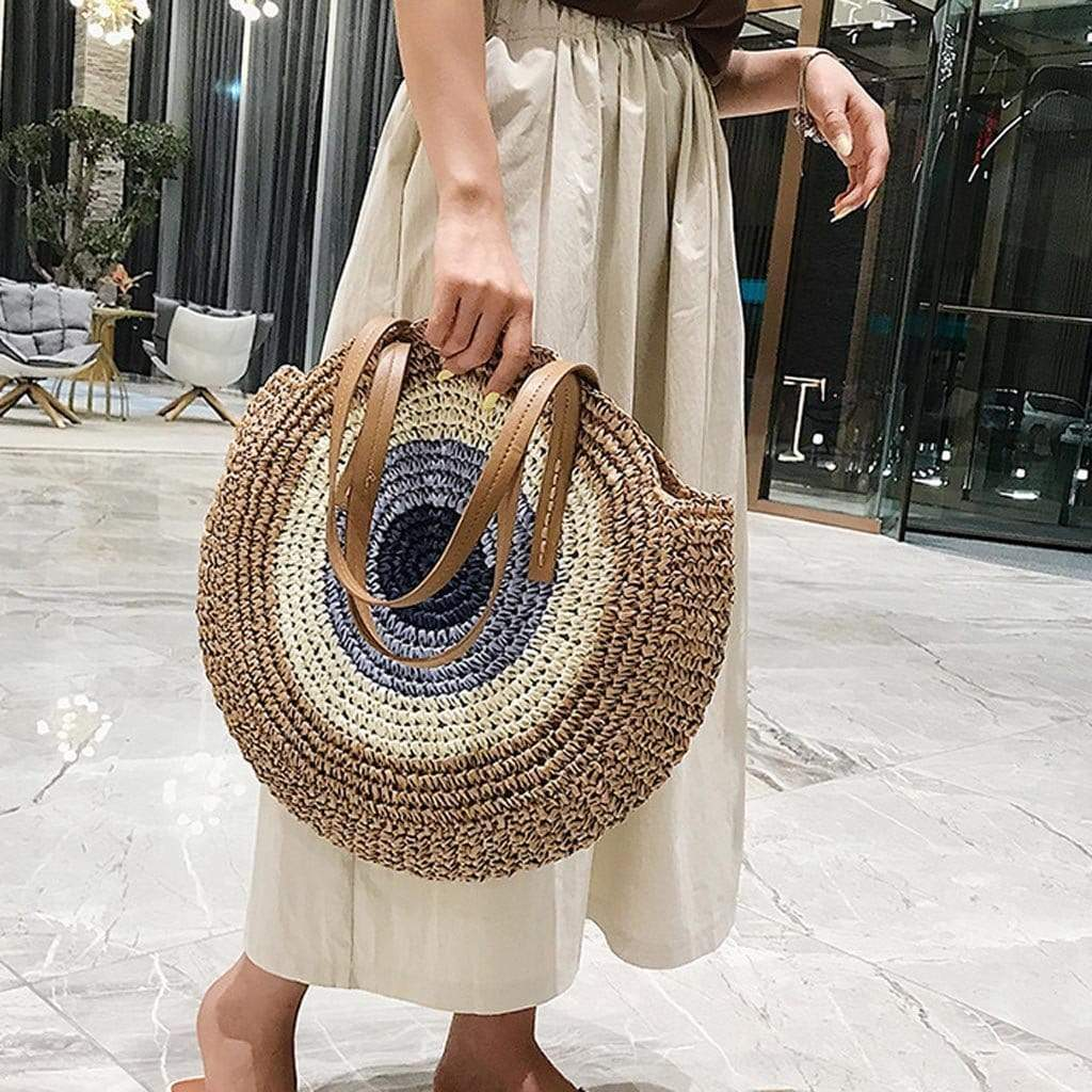Bohemian Straw Bag with Faux Leather Straps WickedAF