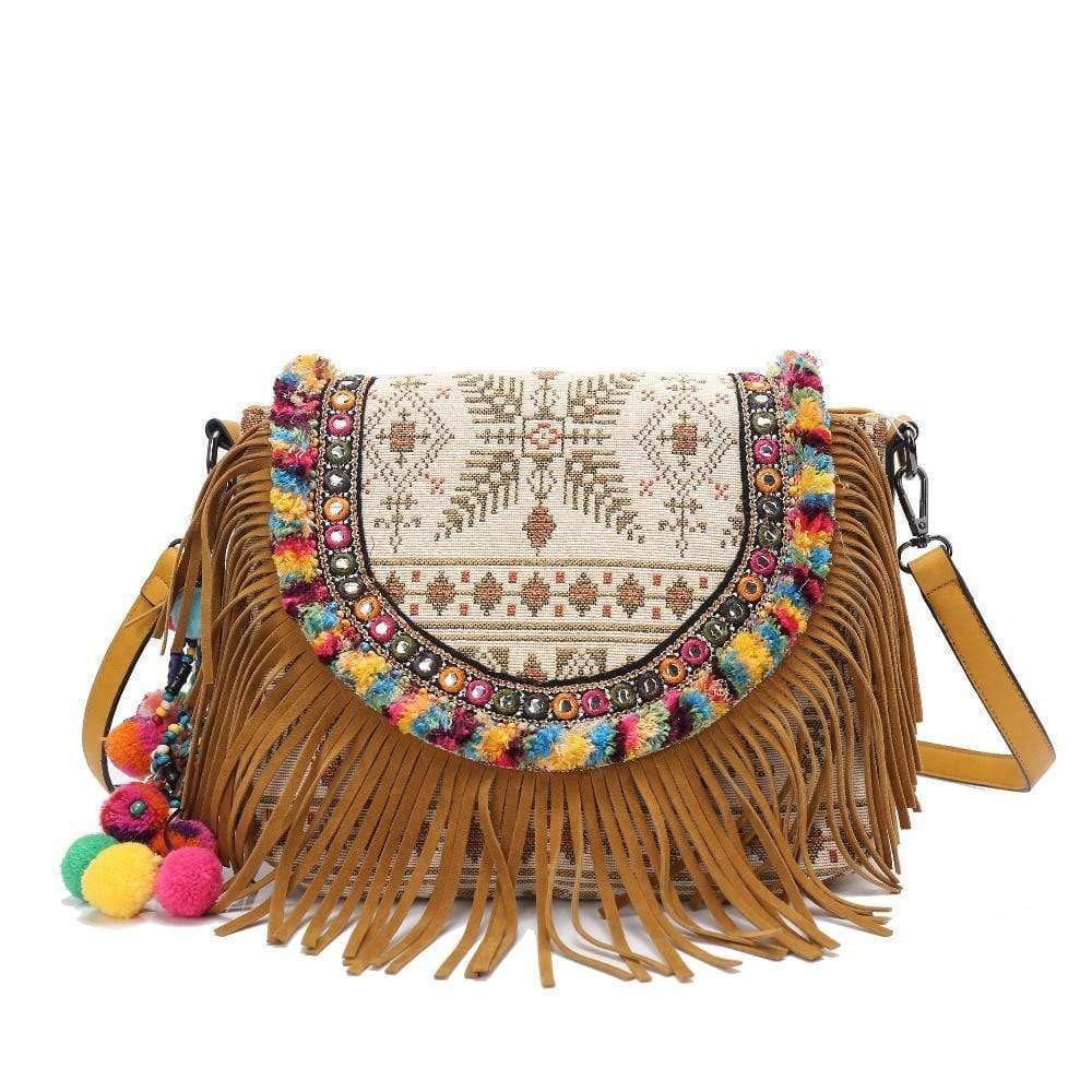 Bohemian Embroidered Shoulder Bag WickedAF Brown