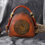 WickedAF BROWN Mandala Embossed Leather U-Handbag