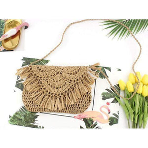 Delilah Frayed Edge Natural Straw Clutch Bag WickedAF Brown
