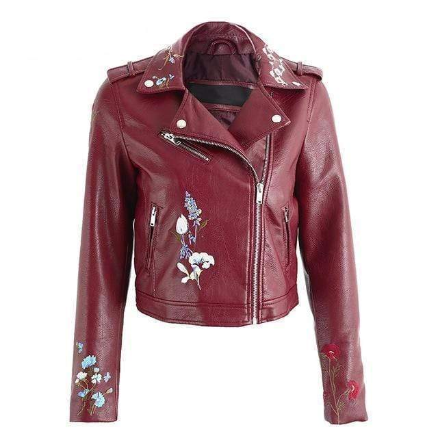 WickedAF Burgundy / S Embroidered Vegan Leather Jacket (4 Colors)