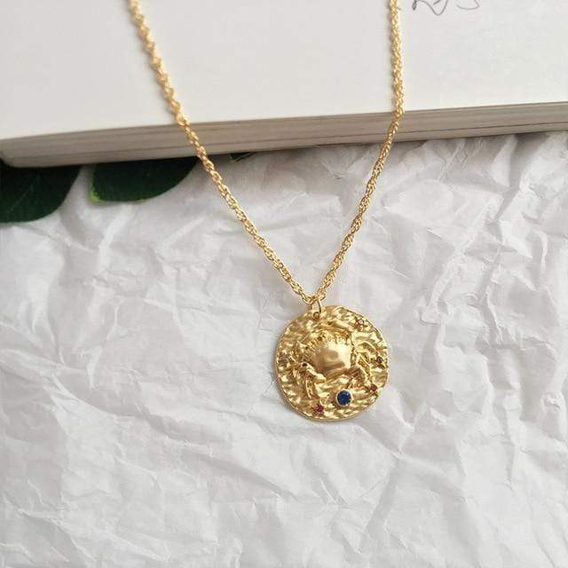 Zodiac Sign Coin Necklaces WickedAF Cancer