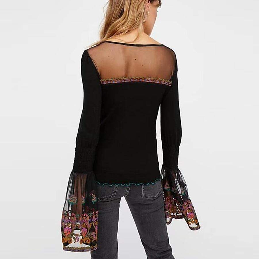 WickedAF CELESTINE Embroidered Flare Sleeve Top