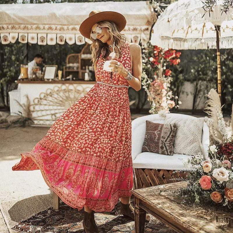 Sleeveless Floral Print Maxi Dress WickedAF cherry red S