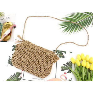 Delilah Frayed Edge Natural Straw Clutch Bag WickedAF