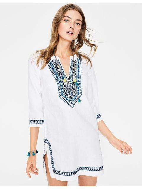 Skye Embroidered Linen Kaftan dress WickedAF