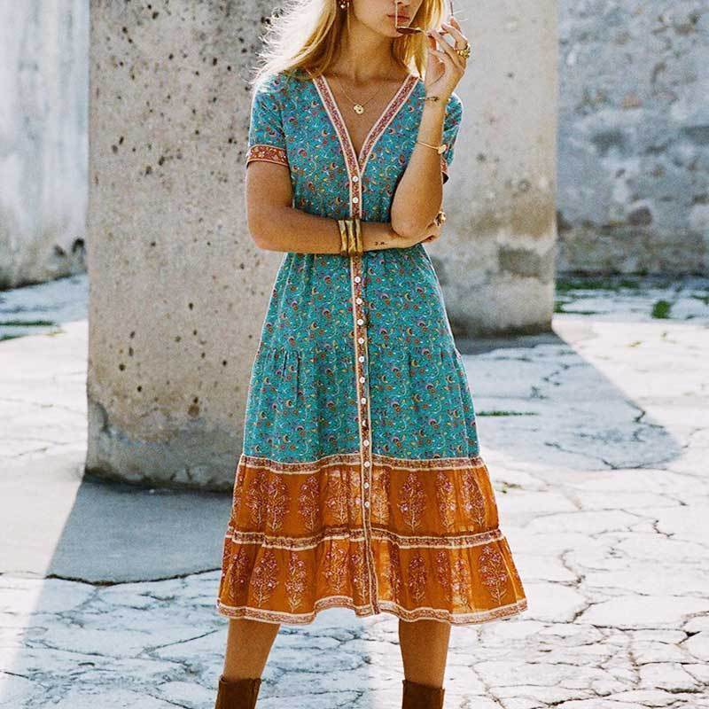 Playful Chic Gypsy Sundress dress WickedAF Turquoise S