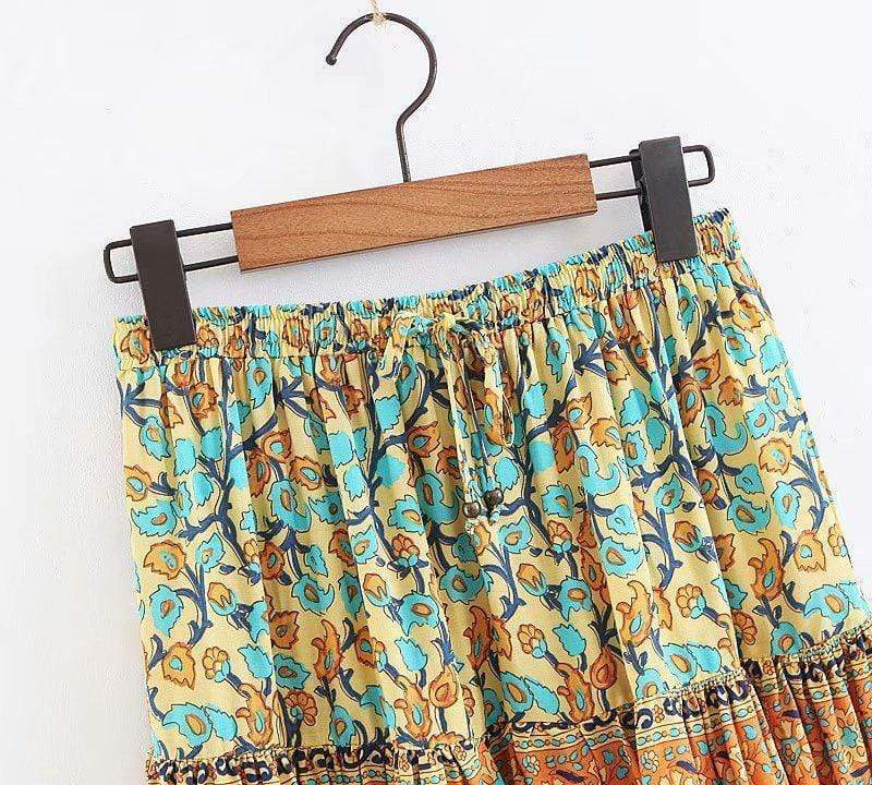 Dusty Yellow Turquoise Dreams Skirt WickedAF