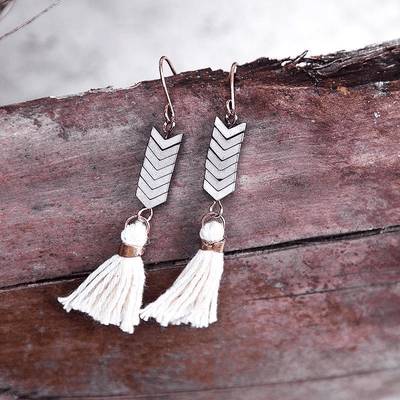 Bohemian Tassel Earrings with Natural Stones earrings WickedAF