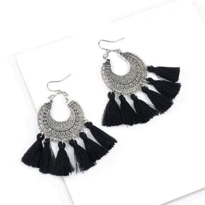 Bohemia Vintage Tassel Earrings earrings WickedAF black