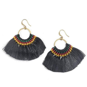 Boho Chic Tassel Earrings earrings WickedAF black