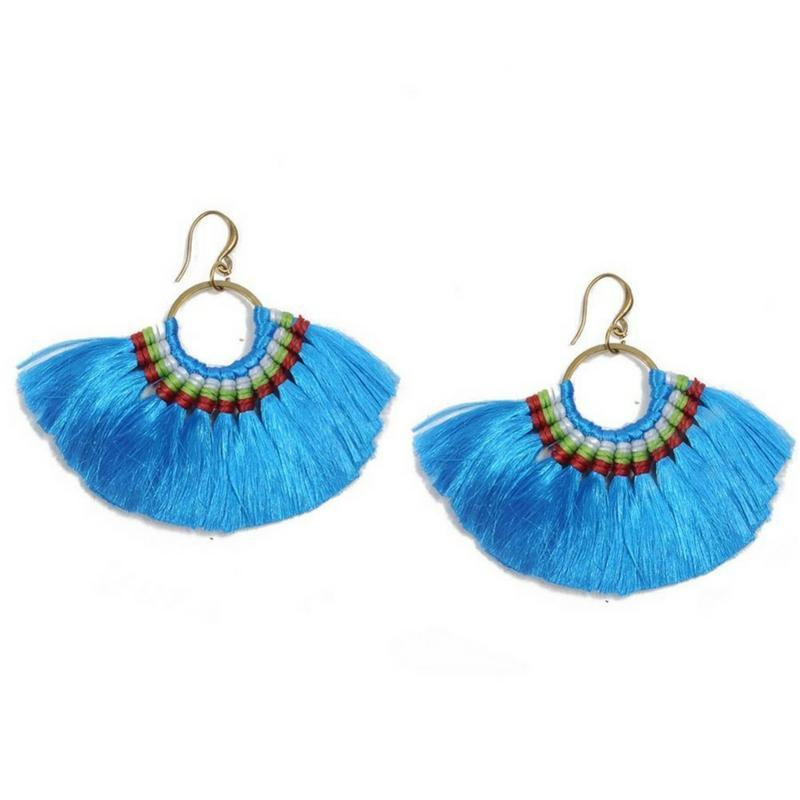 Boho Chic Tassel Earrings earrings WickedAF blue