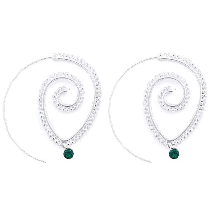 WickedAF earrings Emerald Dangle Spiral Drop Earrings