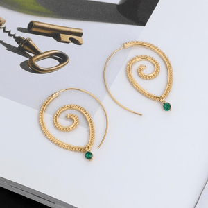 Emerald Dangle Spiral Drop Earrings earrings WickedAF