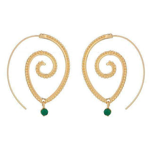 Emerald Dangle Spiral Drop Earrings earrings WickedAF Gold