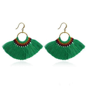 Boho Chic Tassel Earrings earrings WickedAF green
